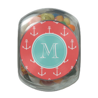 Coral White Anchors Pattern, Mint Green Monogram Jelly Belly Candy Jar