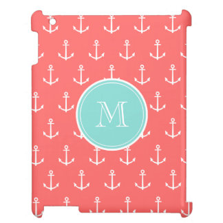 Coral White Anchors Pattern, Mint Green Monogram Case For The iPad
