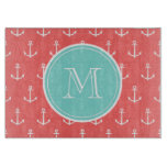 Coral White Anchors Pattern, Mint Green Monogram Cutting Board