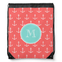 Coral White Anchors Pattern, Mint Green Monogram Drawstring Backpack