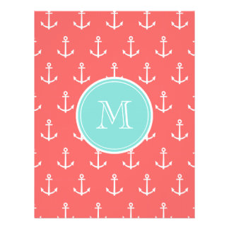 Coral White Anchors Pattern, Mint Green Monogram Personalized Flyer