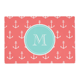 Coral White Anchors Pattern, Mint Green Monogram Laminated Placemat