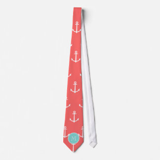 Coral White Anchors Pattern, Mint Green Monogram Neck Tie