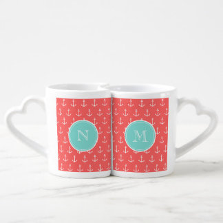 Coral White Anchors Pattern, Mint Green Monogram Lovers Mug Set