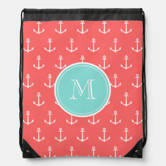 Coral White Anchors Pattern, Mint Green Monogram Backpack