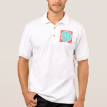 Coral White Anchors Pattern, Mint Green Monogram Polo Shirt