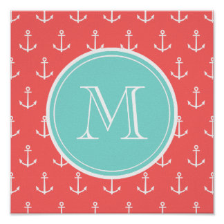 Coral White Anchors Pattern, Mint Green Monogram Poster