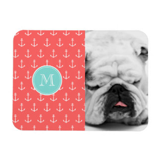 Coral White Anchors Pattern, Mint Green Monogram Rectangular Photo Magnet