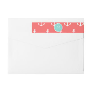 Coral White Anchors Pattern, Mint Green Monogram Wraparound Return Address Label