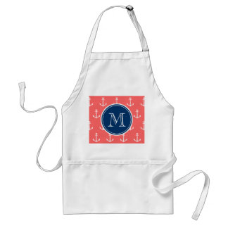 Coral White Anchors Pattern, Navy Blue Monogram Adult Apron