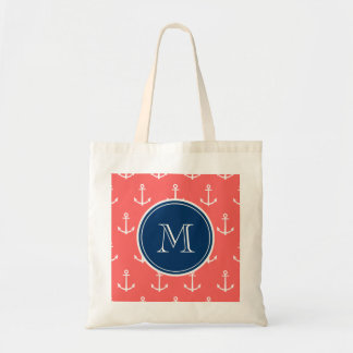 Coral White Anchors Pattern, Navy Blue Monogram Tote Bag