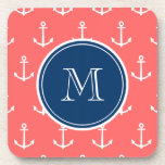 Coral White Anchors Pattern, Navy Blue Monogram Beverage Coaster