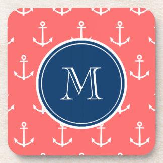 Coral White Anchors Pattern, Navy Blue Monogram Beverage Coaster