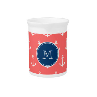 Coral White Anchors Pattern, Navy Blue Monogram Beverage Pitcher