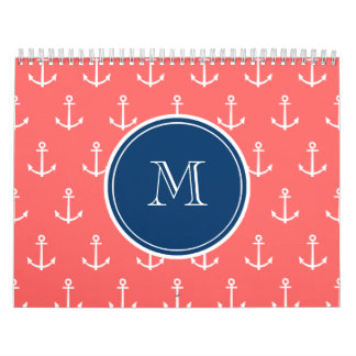 Coral White Anchors Pattern, Navy Blue Monogram Calendars