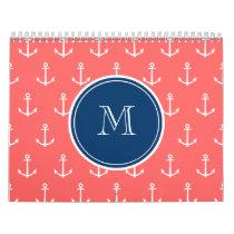 Coral White Anchors Pattern, Navy Blue Monogram Calendar