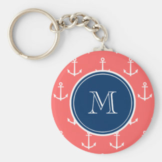Coral White Anchors Pattern, Navy Blue Monogram Keychain
