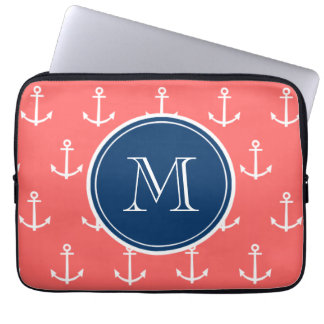 Coral White Anchors Pattern, Navy Blue Monogram Computer Sleeves