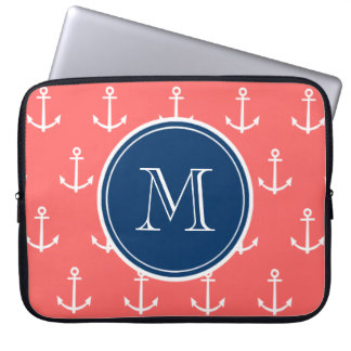Coral White Anchors Pattern, Navy Blue Monogram Laptop Sleeve