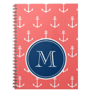 Coral White Anchors Pattern, Navy Blue Monogram Spiral Note Book