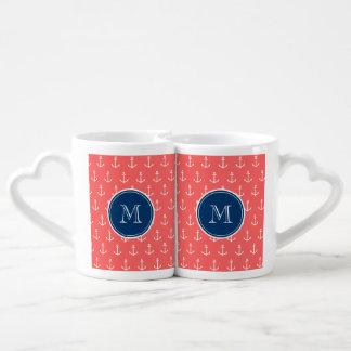 Coral White Anchors Pattern, Navy Blue Monogram Lovers Mug