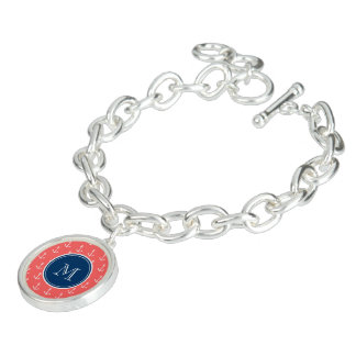 Coral White Anchors Pattern, Navy Blue Monogram Charm Bracelets