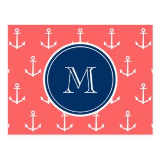 Coral White Anchors Pattern, Navy Blue Monogram Postcard