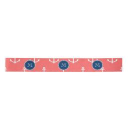 Coral White Anchors Pattern, Navy Blue Monogram Satin Ribbon