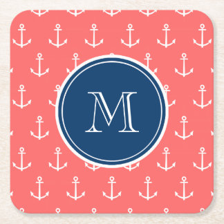Coral White Anchors Pattern, Navy Blue Monogram Square Paper Coaster
