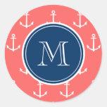 Coral White Anchors Pattern, Navy Blue Monogram Sticker