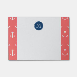 Coral White Anchors Pattern, Navy Blue Monogram Post-it® Notes