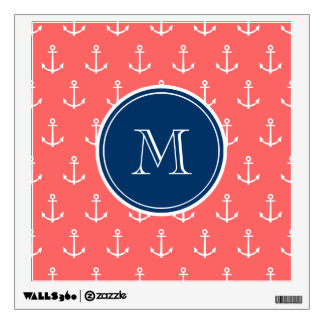 Modern Nautical Anchors Wall Decals Wall Stickers Zazzle - Coral monogram wall decal