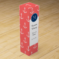 Coral White Anchors Pattern, Navy Blue Monogram Wine Gift Box