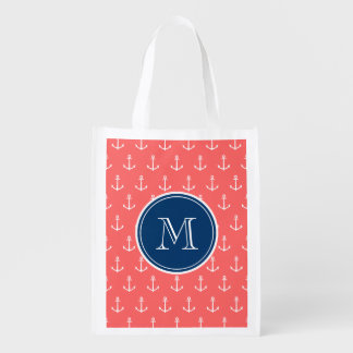 Coral White Anchors Pattern, Navy Blue Monogram Grocery Bags