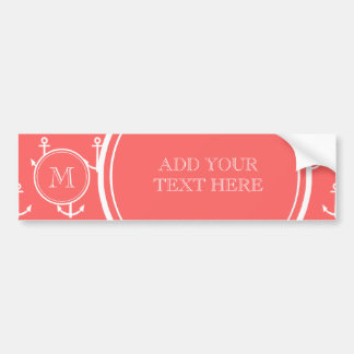 Coral White Anchors Pattern, Your Monogram Bumper Sticker