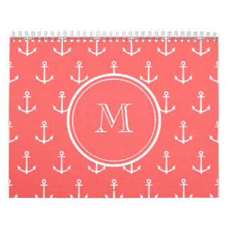 Coral White Anchors Pattern, Your Monogram Calendar