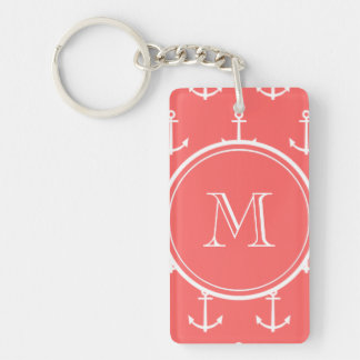 Coral White Anchors Pattern, Your Monogram Keychain