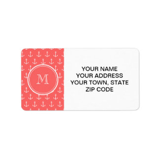 Coral White Anchors Pattern, Your Monogram Personalized Address Labels