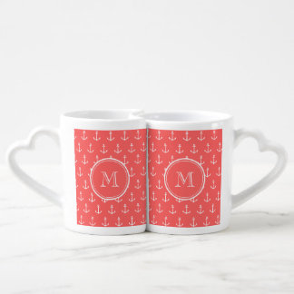 Coral White Anchors Pattern, Your Monogram Couple Mugs
