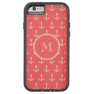 Coral White Anchors Pattern, Your Monogram Tough Xtreme iPhone 6 Case