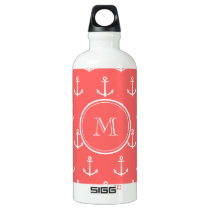 Coral White Anchors Pattern, Your Monogram Water Bottle
