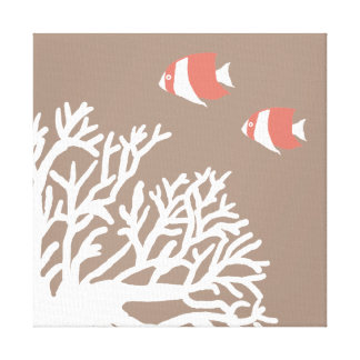 Coral White and Ivory Beige Tropical Angelfish Canvas Print