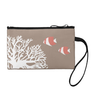Coral White and Ivory Beige Tropical Angelfish Coin Wallet