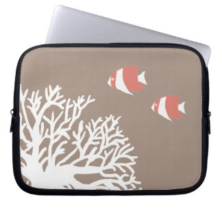 Coral White and Ivory Beige Tropical Angelfish Laptop Computer Sleeve