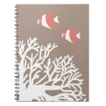 Coral White and Ivory Beige Tropical Angelfish Notebook