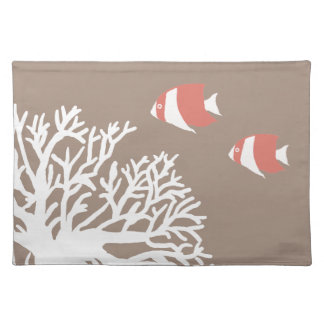 Coral White and Ivory Beige Tropical Angelfish Cloth Placemat