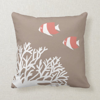 Coral White and Ivory Beige Tropical Angelfish Throw Pillow
