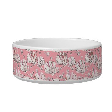 Beach Themed Coral, white and pink sea shells, pink background bowl