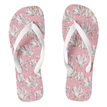 Beach Themed Coral, white and pink sea shells, pink background flip flops