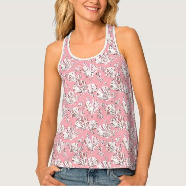 Beach Themed Coral, white and pink sea shells, pink background tank top